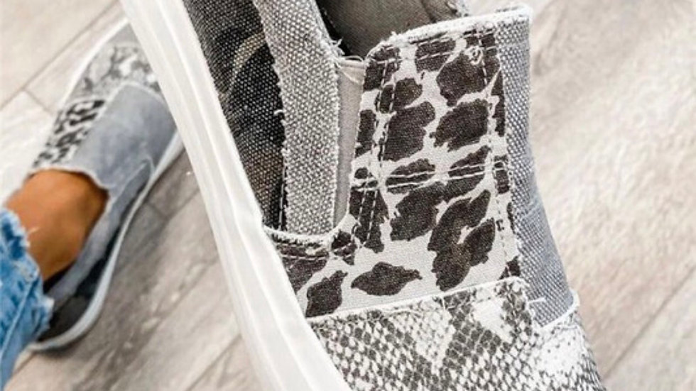 Gray leopard snakeskin print loafer slip on shoe