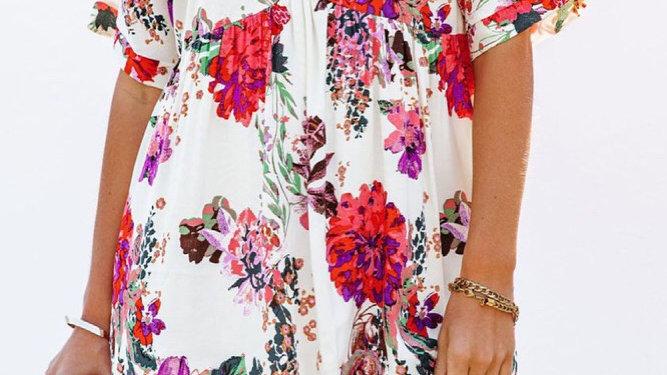 White bohemian floral midi dress