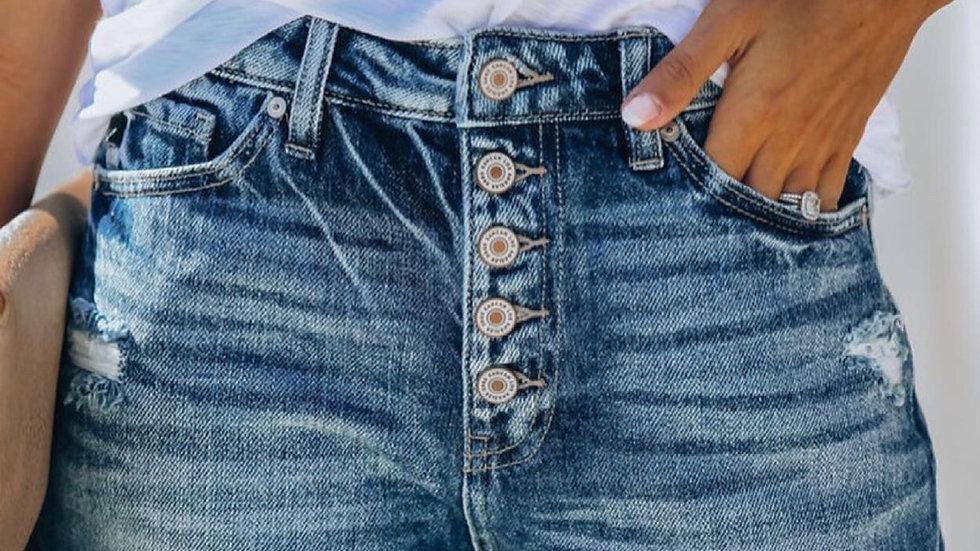High rise rolled denim shorts