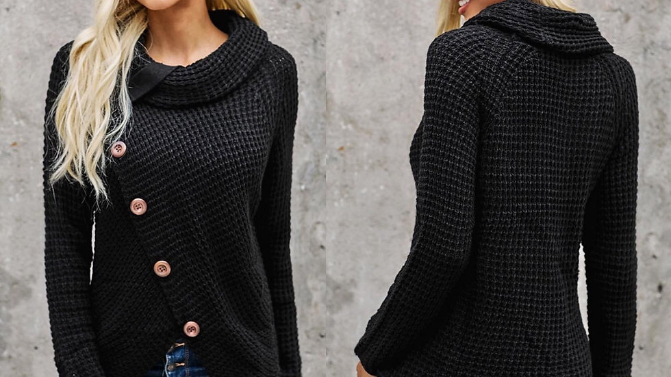 Black Button Ribbed Wrap Sweater