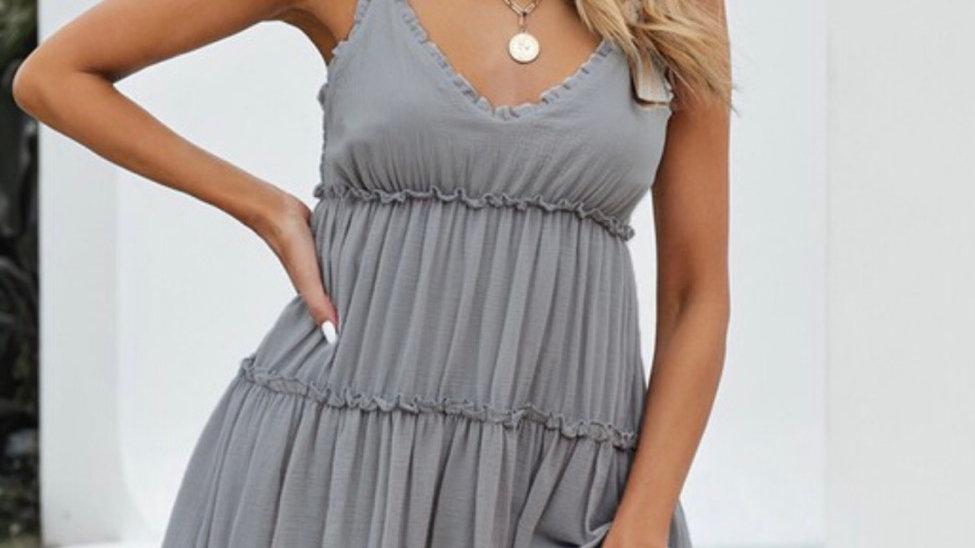 Gray ruched ruffled midi dress