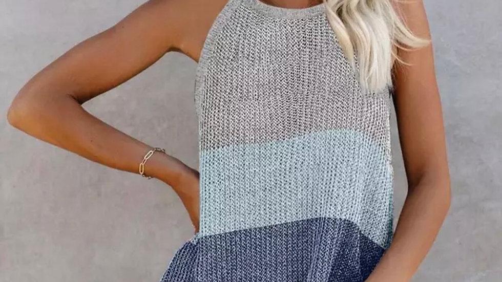Gray Pink colorblock knit halter tank top