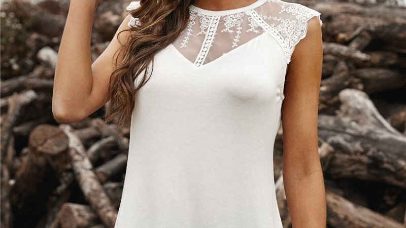 Ivory lace sheer knit tank top tunic