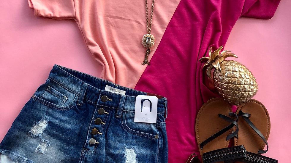 Peach fuchsia one shoulder tunic top