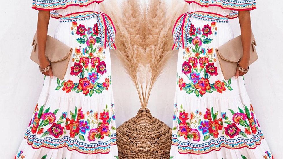 Ivory floral off shoulder maxi dress