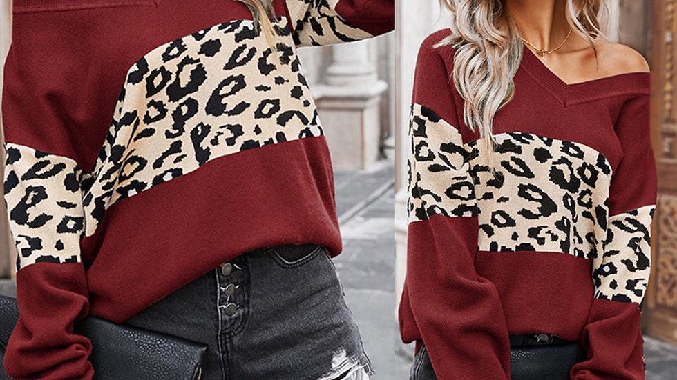 Maroon leopard print v neck pullover sweater