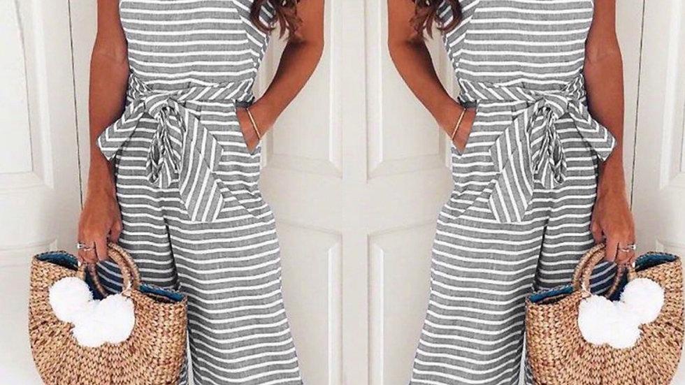 Gray striped crop pant jumpsuit
