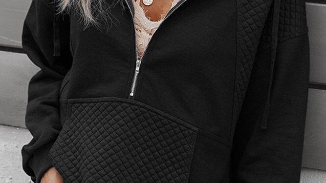 Black 1/2 zip ribbed pullover