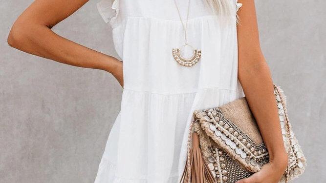 White ruffle tiered knit midi dress