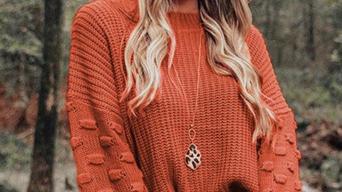 Orange crop bubble sleeve sweater
