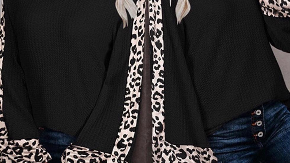 Black Leopard Print Contrast Sweater