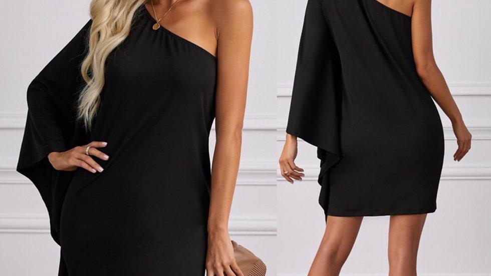 Black one shoulder ruffled midi dress