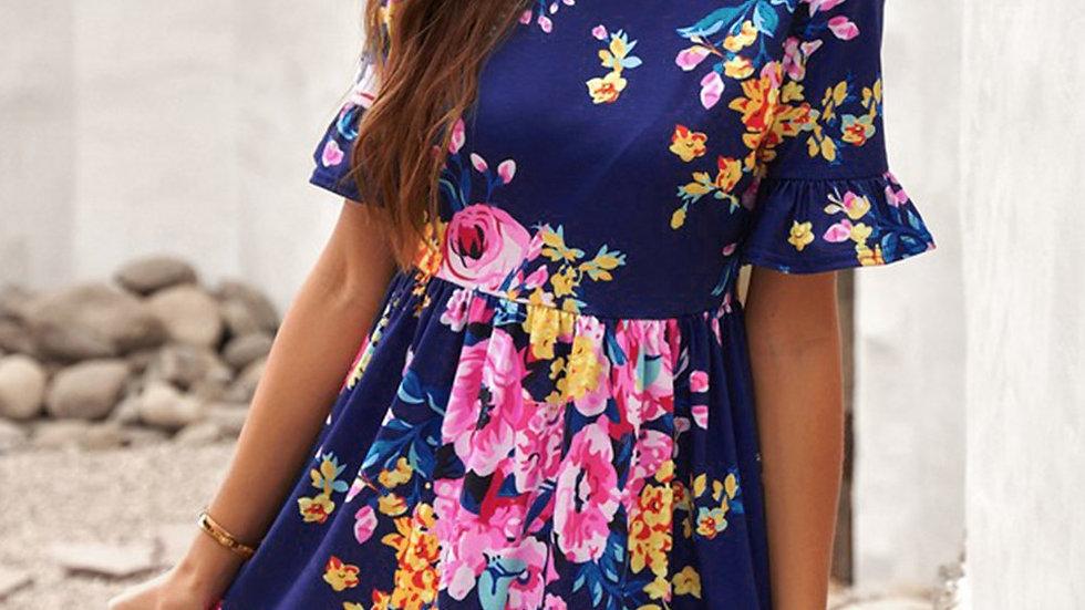 Navy Ruffle Floral Dress