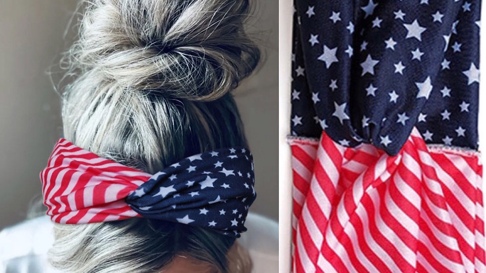 American flag print bandana headband