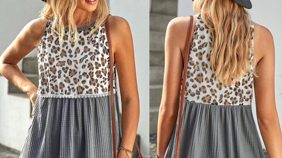 Gray leopard print ruched tank