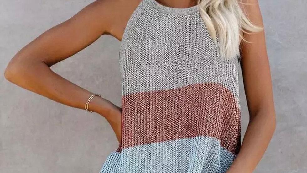 Gray maroon colorblock knit halter tank top