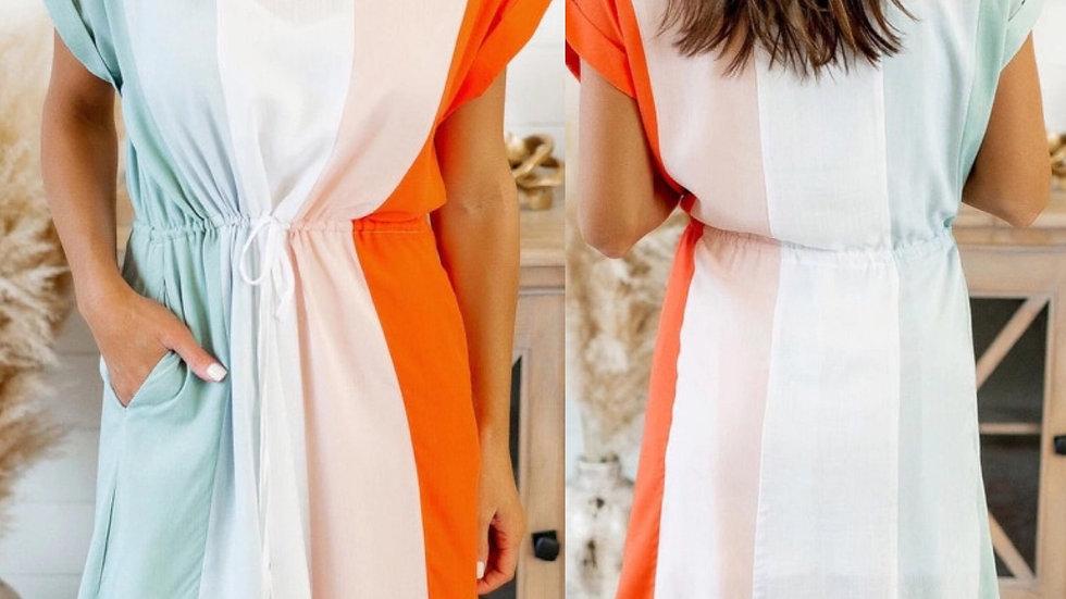 Colorblock striped tie waist dress