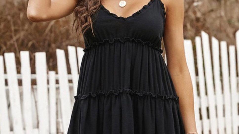 Black ruched ruffled midi dress