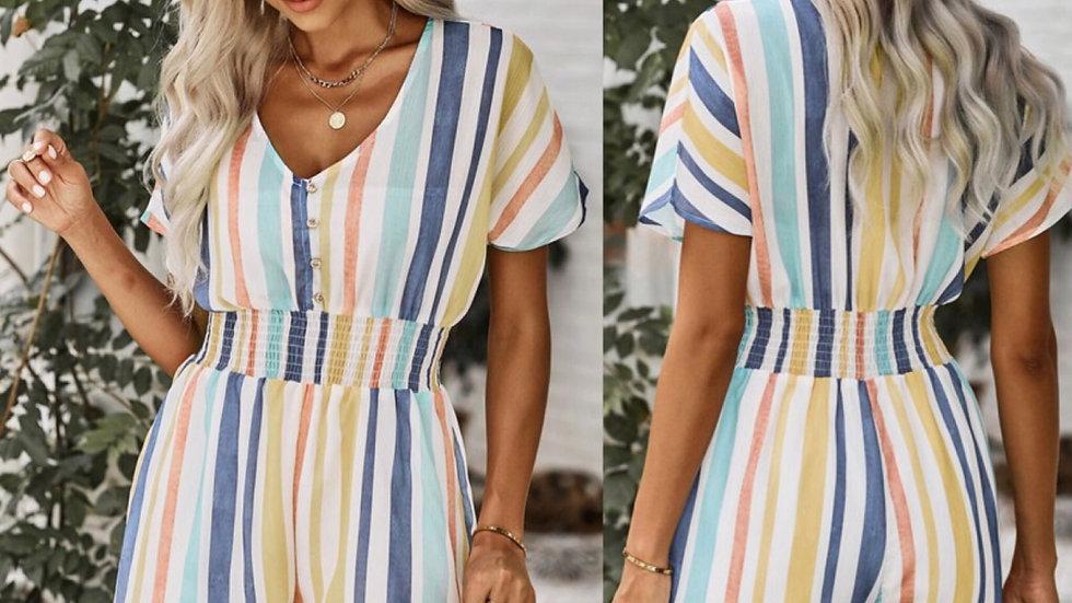 Multi striped button knit romper