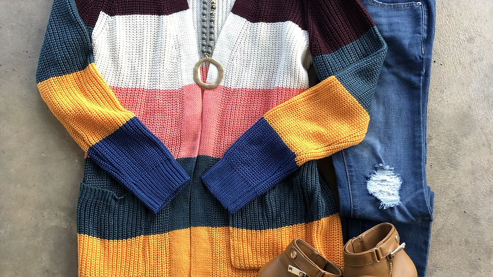 Multi color striped pocket cardigan sweater small