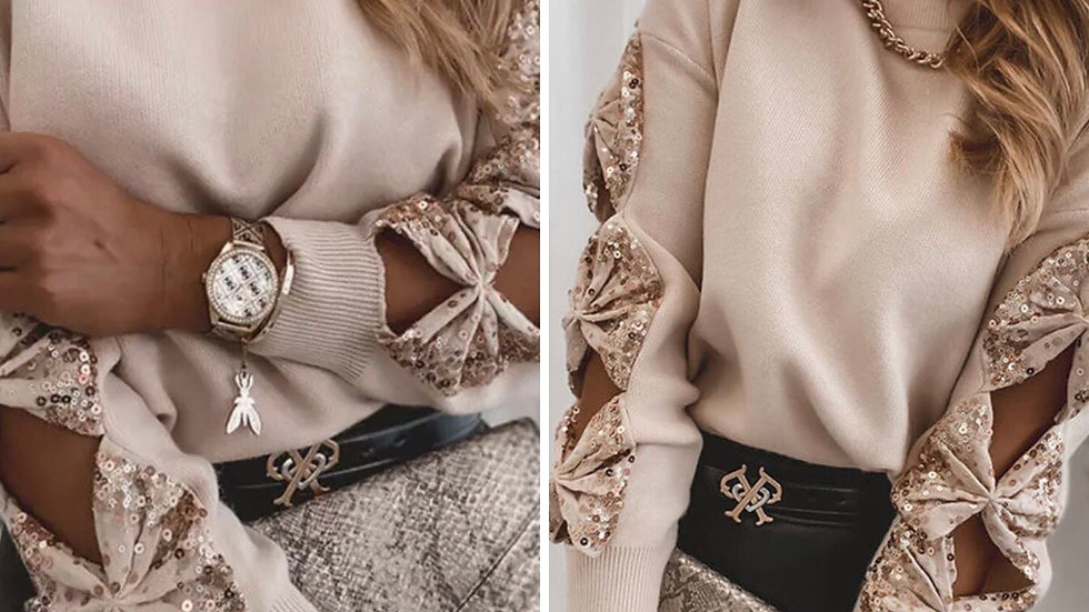 Beige sequin open sleeve sweater