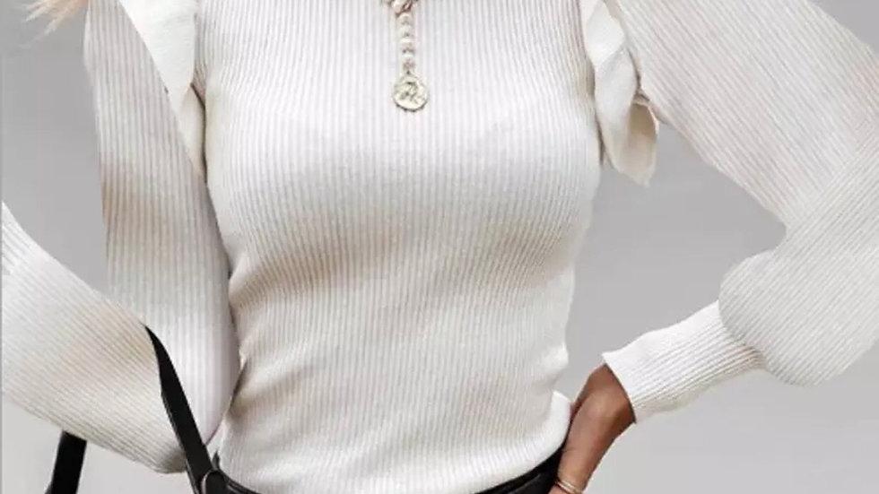 Ivory knit ruffle puff shoulder tunic