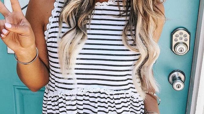 striped print ruffle hem tank top
