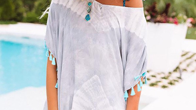 Gray tie dye tassel swim coverup