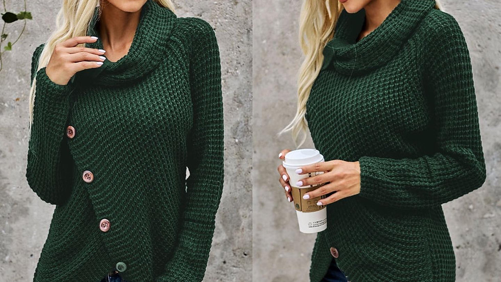 Green Button Ribbed Wrap Sweater