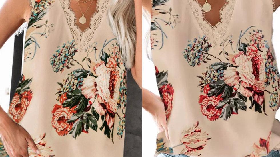Apricot floral print lace tank top