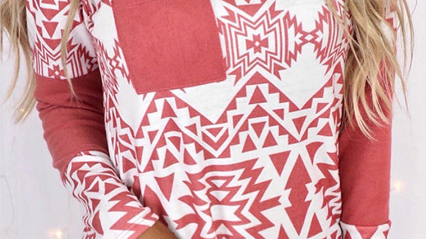 Pink BohoTribal Print Tunic