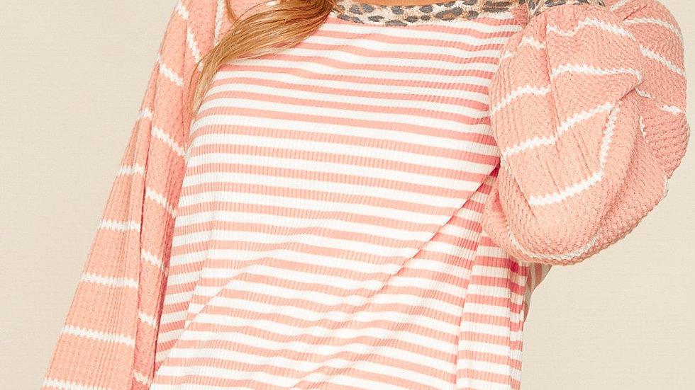 Blush Stripe Waffle Bubble Sleeve Tunic