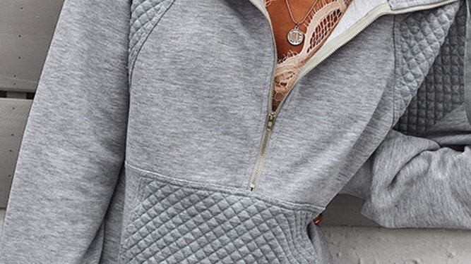 Gray 1/2 zip ribbed pullover