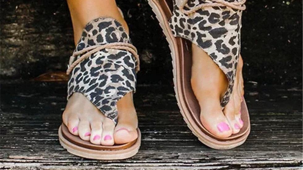 Brown leopard print thong sandals
