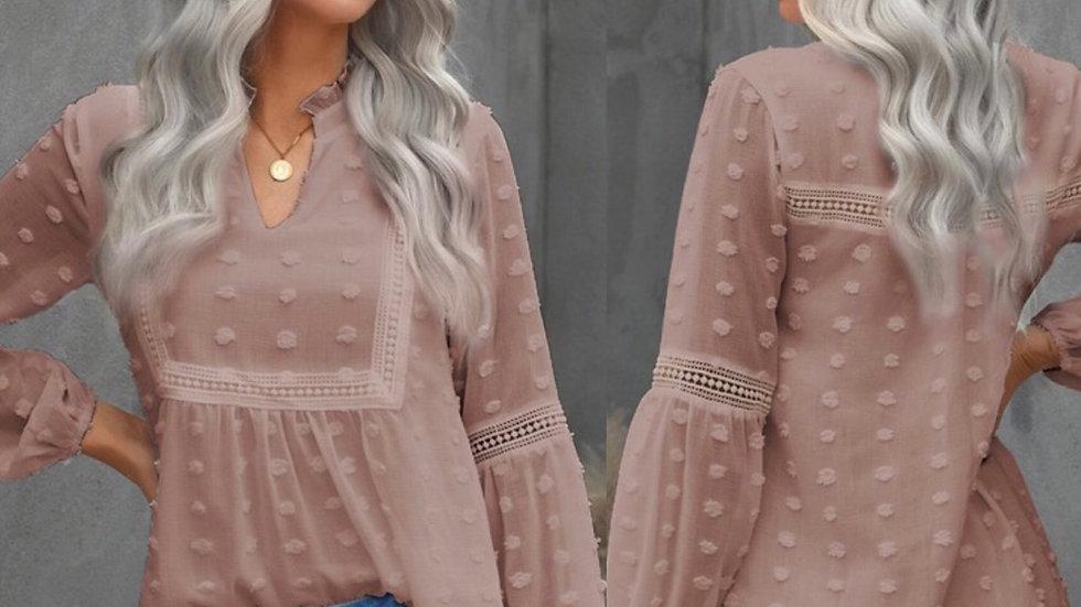 Beige bubble print belle sleeve tunic