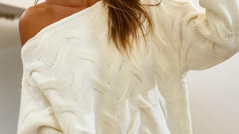 Ivory Oversized Wide Neck Knit Sweater