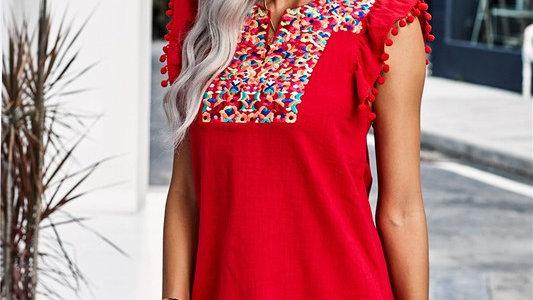 Red Boho Pom Pom Floral Print Midi Dress