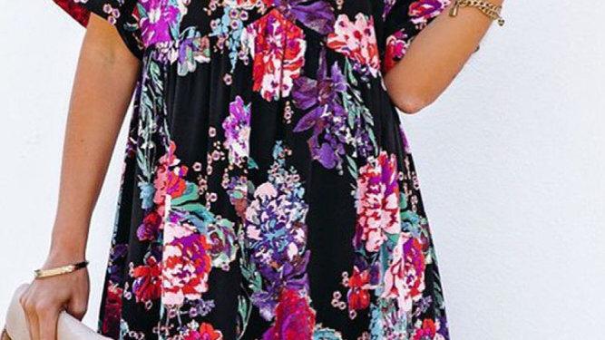 Black bohemian floral midi dress
