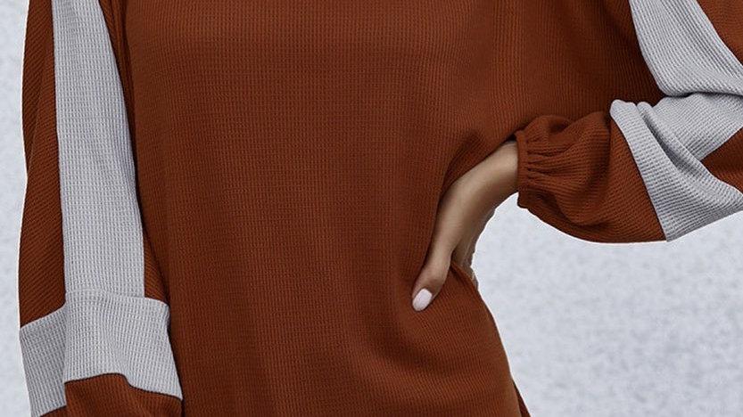 Burnt Orange Colorblock Gray Lantern Sleeve Sweater