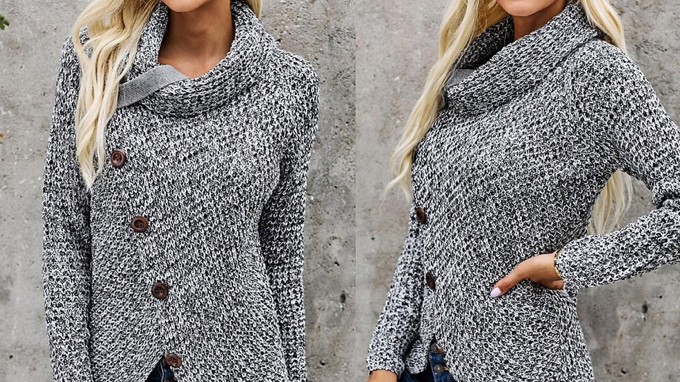 Gray Button Ribbed Wrap Sweater