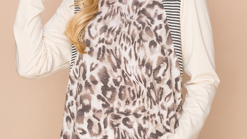 Beige Animal Print Colorblock Tunic