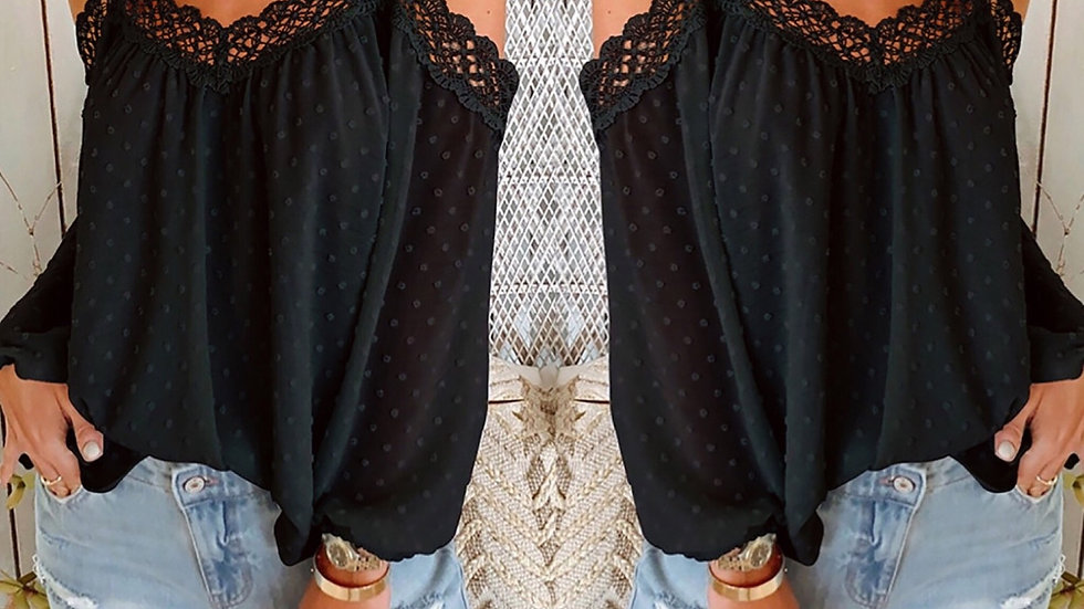 Pom Pom cold shoulder tunic blouse