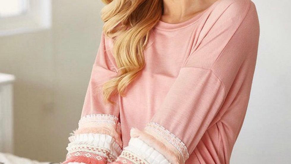 Blush colorblock ruffle sleeve tunic