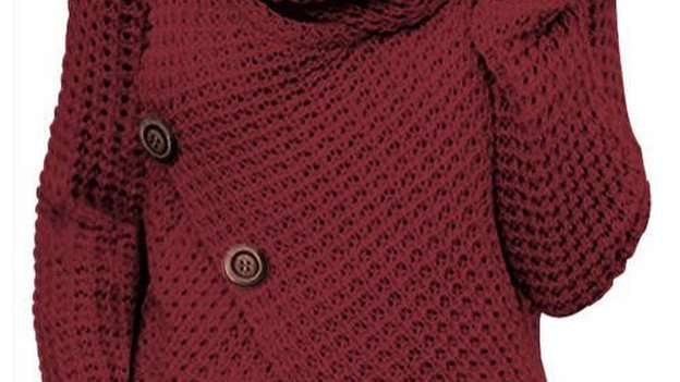 Maroon Button Ribbed Wrap Sweater