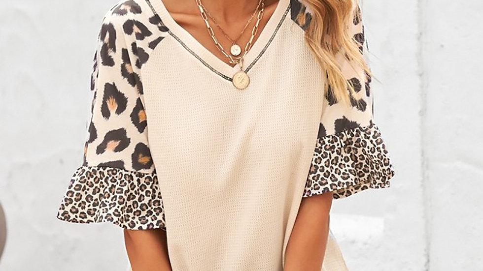 Ivory Leopard Print Ruffle Sleeve Tunic