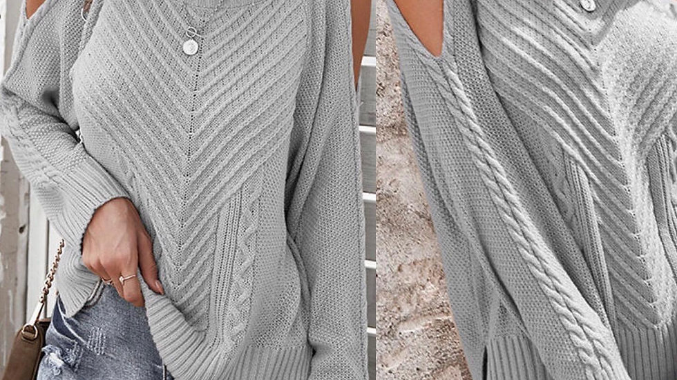Gray Cold Shoulder Ribbed Sweater