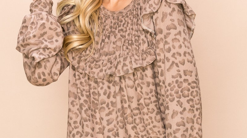 Taupe Animal Print Ruffled Babydoll Blouse