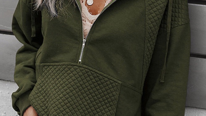 Green 1/2 zip ribbed pullover