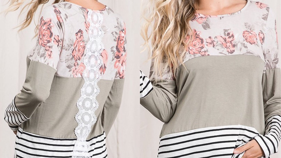 Olive lace back print tunic