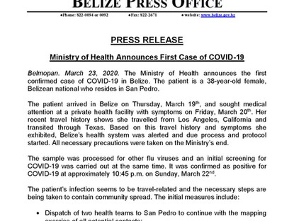 March 23, 2020 - Ministry of Health Announces First Case of COVID-19